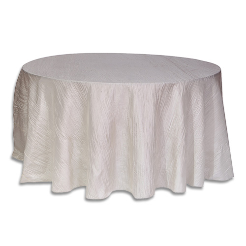 Linens 120 inch round crinkle taffeta ivory for 120 table cloth rental