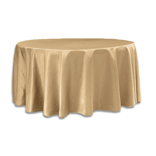 Tablecloth 120 round 120 inch round lamour satin gold for 120 table cloth rental
