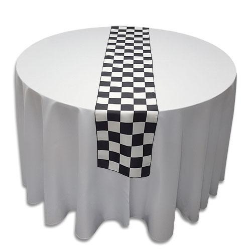 Linens Table Runner Polyester Black Amp White Checkered