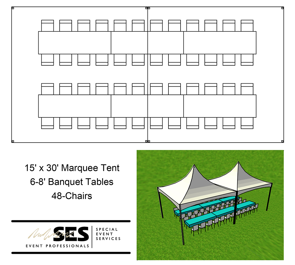 Tents marquee tent 15 39 x 30 39 for Wedding tent layout tool
