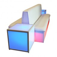 Double-Sided Couch, White Model Platforms & Uplighting