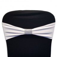 White Chair Band with Silver Rhinestone Chair Sash Slip