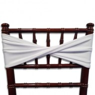 White Chair Band on Mahogany Chiavari Chair-with a twist!