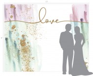 Blush/Turquoise Watercolor & Gold Glitter: Love