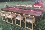 8 ft. Farm Table & Natural Wooden Garden Chairs
